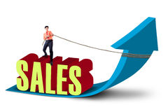 businessman-pulling-sales-arrow-sign-white-background-30066098